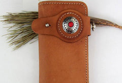 Handmade beige tan men leather biker wallet with chain Long wallet clutch for men