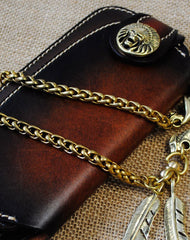 Handmade leather biker trucker wallet leather chain men Long wallet