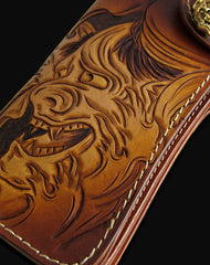 Handmade brown coffee leather prajna carved biker wallet Long wallet clutch for men