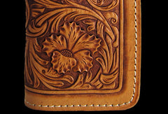 Handmade brown beige leather floral carved biker wallet Long wallet clutch for men