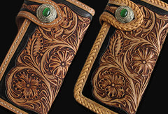 Handmade black tan leather floral carved biker wallet Long wallet clutch for men