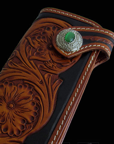 Handmade black coffee leather floral carved biker wallet Long wallet clutch for men