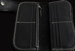 Handmade black color leather prajna carved biker wallet Long wallet clutch for men