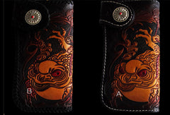 Handmade black color leather toad carved biker wallet Long wallet clutch for men