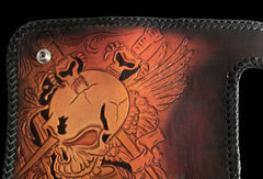 Handmade biker wallet Black Skull leather floral carved biker chain wallet truck wallet