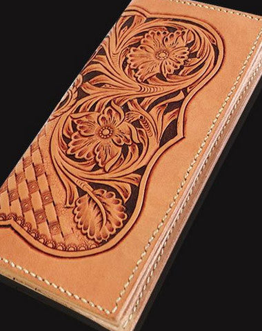 Handmade beige leather floral carved biker wallet Long wallet clutch for men