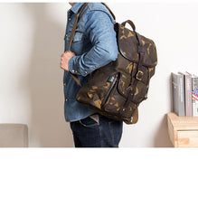Camouflage Canvas Leather Mens Large 14'' Laptop Backpack College Backpack Hiking Backpack for Men