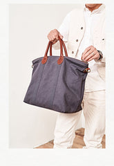 Cool Canvas Leather Mens Tote Bag 15'' Messenger Bags Handbag Canvas Tote Shoulder Bag for Men Women