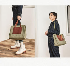 Vintage Canvas Leather Mens Tote Bag Green Tote Handbag Canvas Shoulder Tote for Men Women