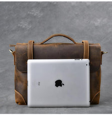 Leather Mens Brown Briefcase 13'' Laptop Bag Messenger Bag Shoulder Bag For Men