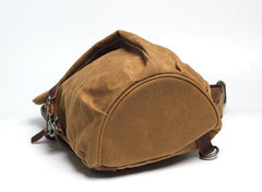 Canvas Leather Mens Camouflage Chest Bag One Shoulder Backpack Khaki Sling Bag for Men