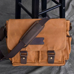 Canvas Leather Mens Large Khaki Side Bag 14'' Brown Messenger Bag Shoulder Bag For Men