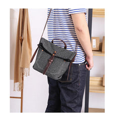 Canvas Mens Womens Small Side Bag Black Handbag Shoulder Bag Messenger Bag for Men
