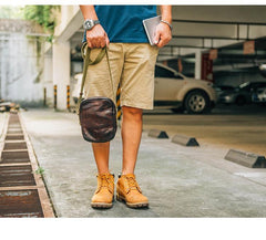 Casual Coffee Leather Men Vertical Side Bag Green Small Messenger Bag Black Courier Bag For Men