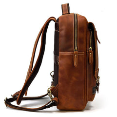 Casual Brown Mens Leather Large School Backpack Satchel Backpack Computer Backpack For Men