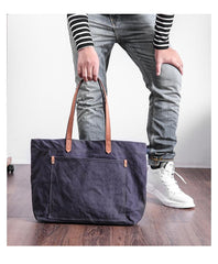 Casual Canvas Leather Mens Womens Large White Handbag Tote Bag Khaki Shoulder Bag Tote Purse For Men
