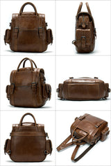Vintage Mens Leather Small Backpack Handbag Briefcase Shoulder Bag for Men