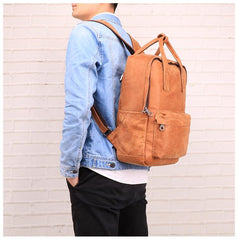 Brown Leather Mens School Backpack Travel Backpack Handbag 13inch Computer Backpack for Men