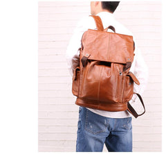 Cool Brown Black Leather Men's Backpack College Backpack 13inch Laptop Backpack For Men