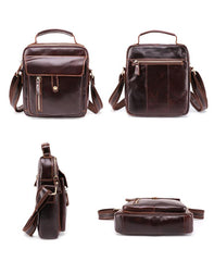 Fashion Brown Leather Men's Small Vertical Courier Bag Messenger Bag Side Bag For Men