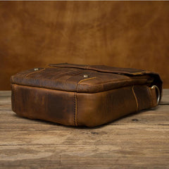 Vintage Brown Leather Mens Small Vertical Side Bags Courier Bag Messenger Bag For Men