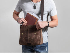 Casual Waxed Canvas Leather Men's Side Bag Shoulder Bag Messenger Bag For Men