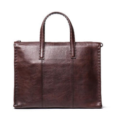 Classy Brown Leather Men's Professional Briefcase 14'' Laptop Briefcase For Men