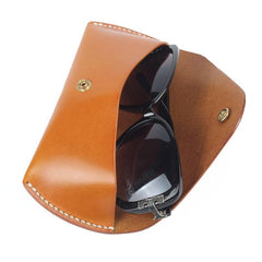 Handmade Vintage LEATHER MEN'S  Sunglasses Box Case Black Glasses Holder For Men