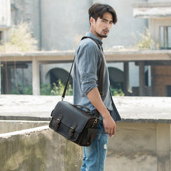 Coffee Vintage Leather Mens Camera Messenger Bag Crossbody Camera Bags for Men