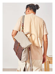 Canvas Leather Convertible Backpack Messenger Bag Satchel Backpack Mens Canvas Messenger Backpack for Men