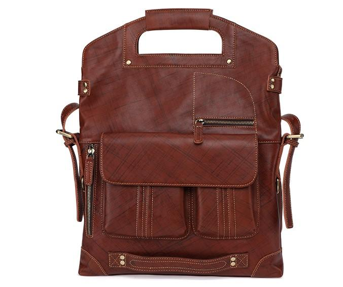 Cool 3-in-1 Brown Leather Mens Backpack Side Bag Laptop Handbag Backpack for Men