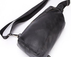 Cool Black Leather Chest Bag Sling Bag Crossbody Sling Bag Hiking Sling Bag For Men