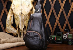 Cool Black and Brown Mens Leather Chest Bag Sling Bag Sling Crossbody Bag For Men