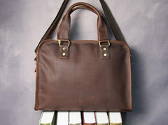 Cool Brown Coffee Leather Mens Briefcase 12inch Work Handbag Business Bag for Men