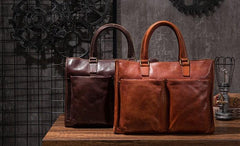 Cool Brown Coffee Leather Mens Briefcase 14inch Laptop Bag Work Handbag Business Bag for Men