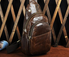 Cool Coffee Leather Chest Bag Sling Bag Sling Crossbody Bag One Shoulder Backpack For Men