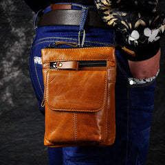 Cool Brown Leather Men's Belt Pouch Cell Phone Holster Small Belt Bag Mini Messenger Bag Side Bag For Men