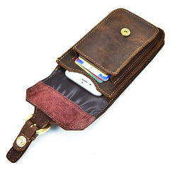 Cool Brown Leather Mens Belt Case Belt Pouch Mini Waist Pouch Belt Bags Phone Bag For Men