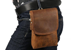Cool Brown Leather Mens Belt Pouch Mini Shoulder Bag Waist Bags For Men