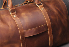 Cool Brown Leather Mens Overnight Bag Duffle Bag Travel Bag Weekender Bag for Men