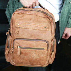 Cool Brown Mens Leather Backpack Travel Backpacks Cool School Backpacks for men