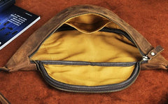 Cool Vintage Brown Mens Leather Fanny Pack Belt Bags Waist Bag For Men