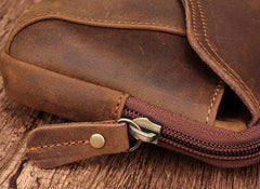 Cool Brown Mens Leather Belt Bag Belt Pouch Cell Phone Holster Waist Bags For Men