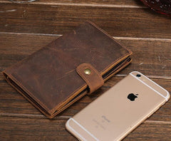 Cool Brown Vintage Mens Leather Long Wallet Bifold Long Wallet for Men
