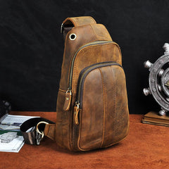 Cool Brown Mens Leather One Shoulder Backpack Chest Bag Sling Bags For Men