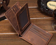 Cool Vintage Brown Mens Leather Small Wallet Bifold Short Wallets for Men