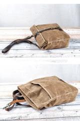 Cool Waxed Canvas Leather Mens 14'' Messenger Bag Motorcycle Side Bag Handbag For Men