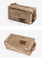 Waxed Canvas Leather Mens Clutch Bag Waterproof Handbag Storage Bag Wash Bag For Men