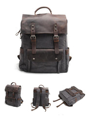 Cool Canvas Leather Mens 15'' College Gray Computer Backpack Travel Backpack for Men