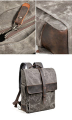 Cool Canvas Leather Mens Large Waterproof Black 15'' Backpack Travel Backpack Khaki Computer Backpack for Men